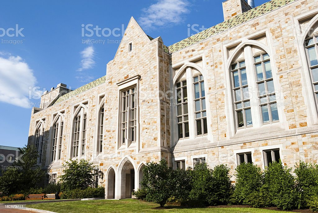 Building on campus of Boston College in Chestnut Hill, MA stock photo
