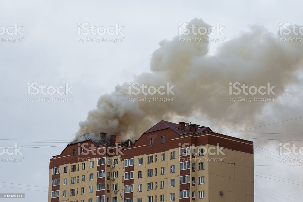 Building on Fire stock photo