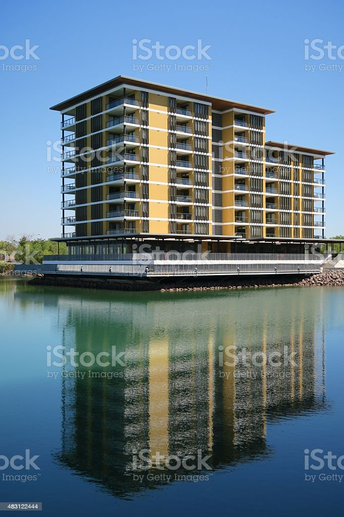 Building on the river 01 stock photo