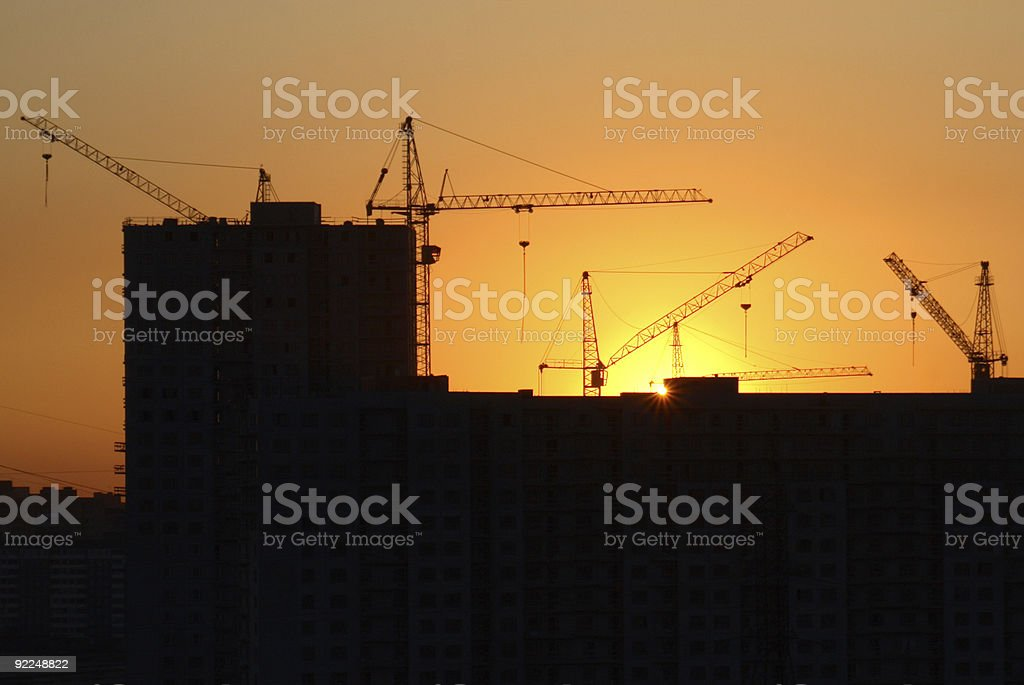 Building on the sunset royalty-free stock photo