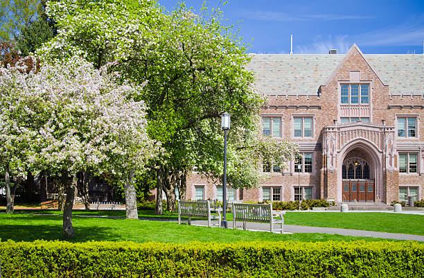Building on University of Washington campus in Seattle, WA stock photo