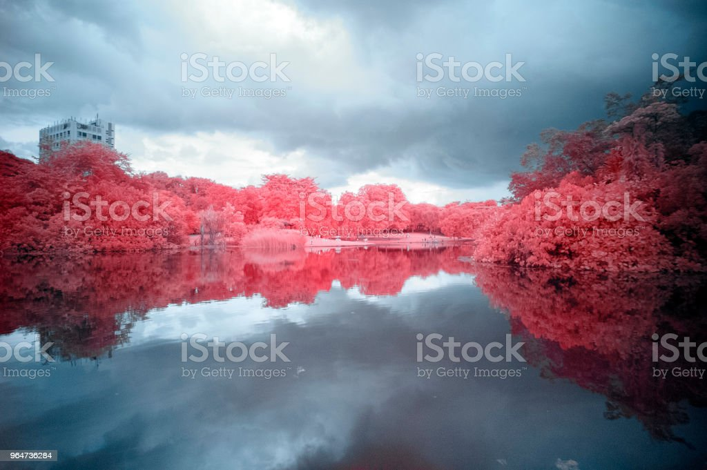 Building over lake royalty-free stock photo