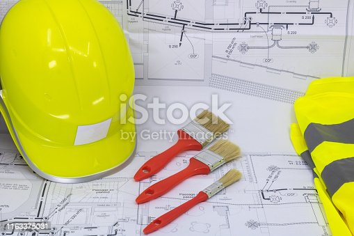 istock Building Painter - Graphic Resource with House Plan Safety Equipment and Building Painting Equipment 1163375031