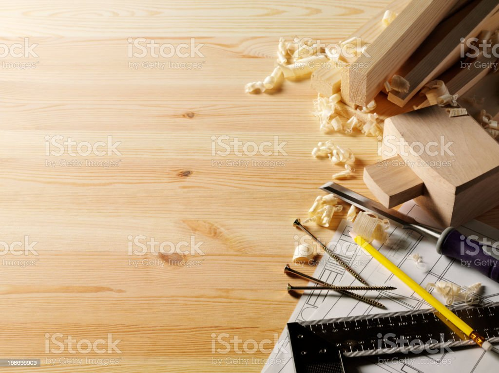 Building Plans and Timber royalty-free stock photo