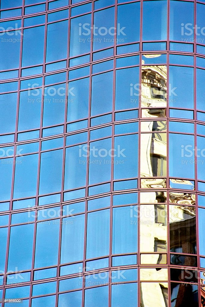 Building Reflected in Abstract Skyscraper - New York City stock photo