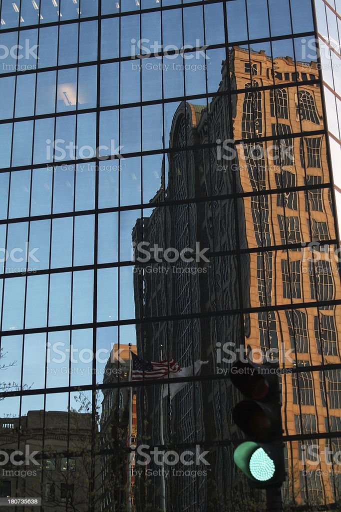 Building reflection background stock photo