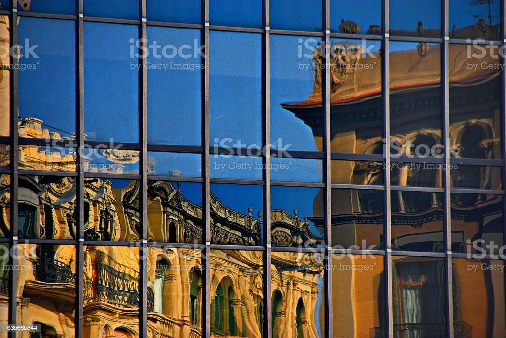 Building reflections, Barcelona, Spain stock photo