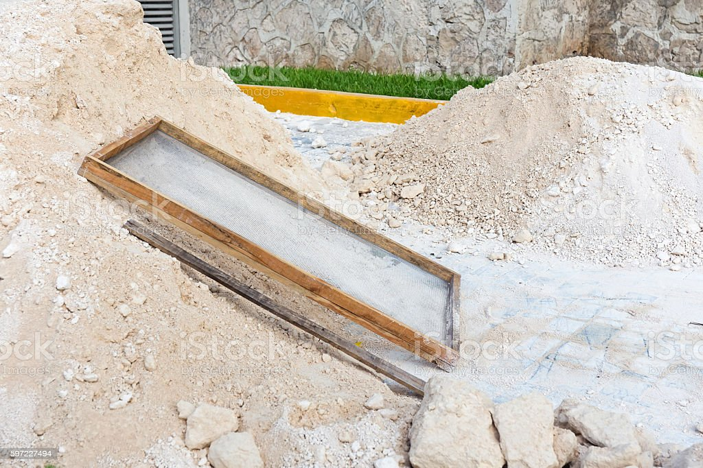 Building road with paving stone stock photo