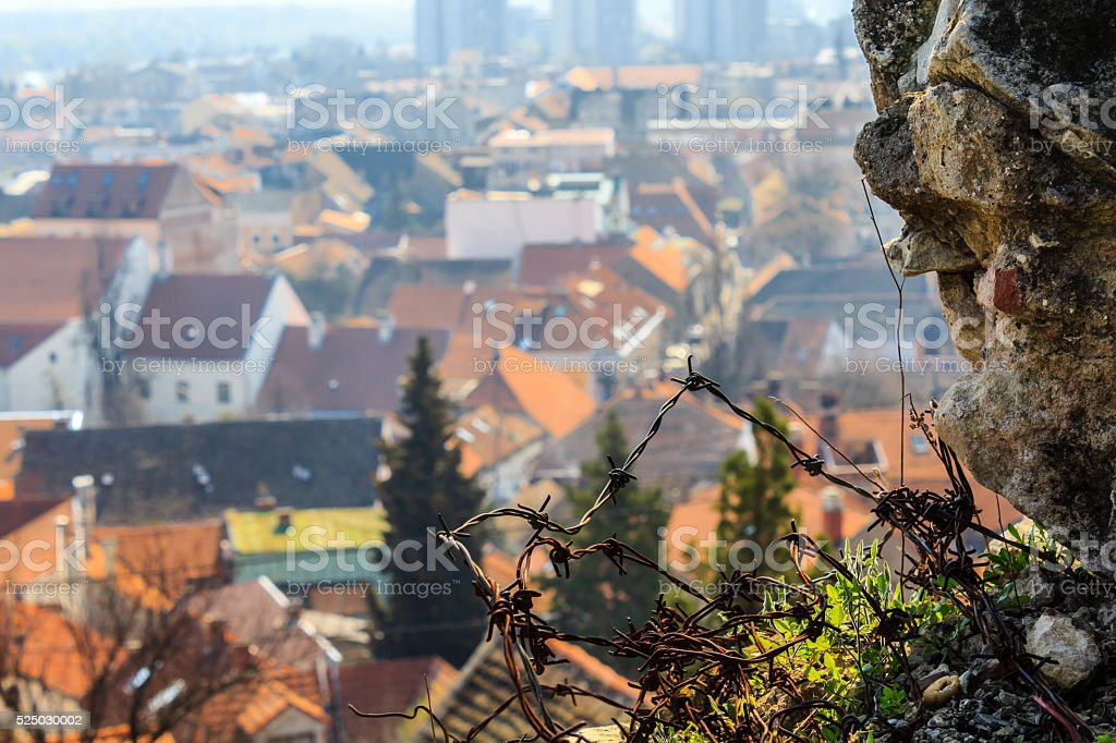 building roofs in Zemun, pat of Belgrade stock photo