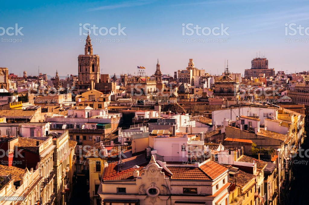 Building Rooftops In Spain stock photo