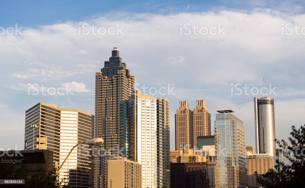 Building Selection Highrise Office Hotels Downtown Atlanta Georgia USA stock photo