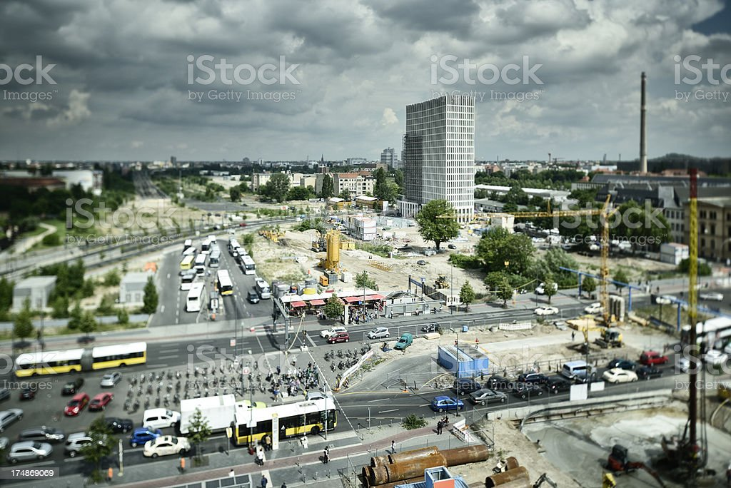 Building Site besides Busy Street in Berlin royalty-free stock photo