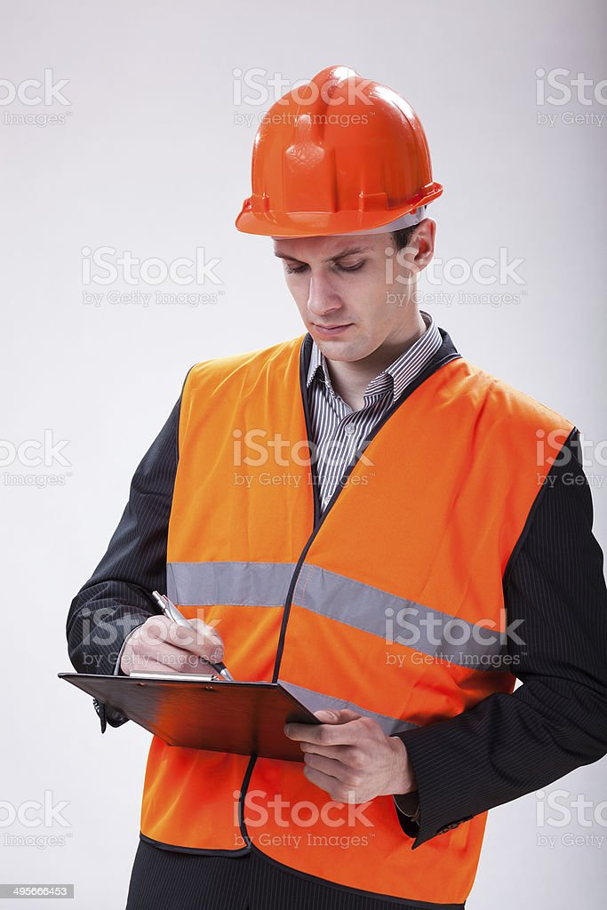 Building site manager stock photo