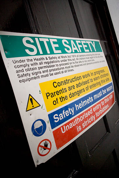 Building Site Safety Rules Poster stock photo