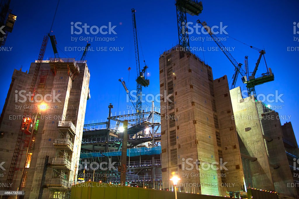 Building site with cranes. City of London. Night view stock photo