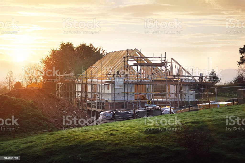 Building site with house under construction - Lizenzfrei Arbeiten Stock-Foto