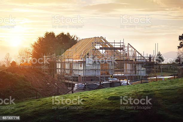 Home under construction on a building site
