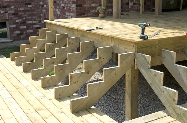 Building Stairs on Deck stock photo