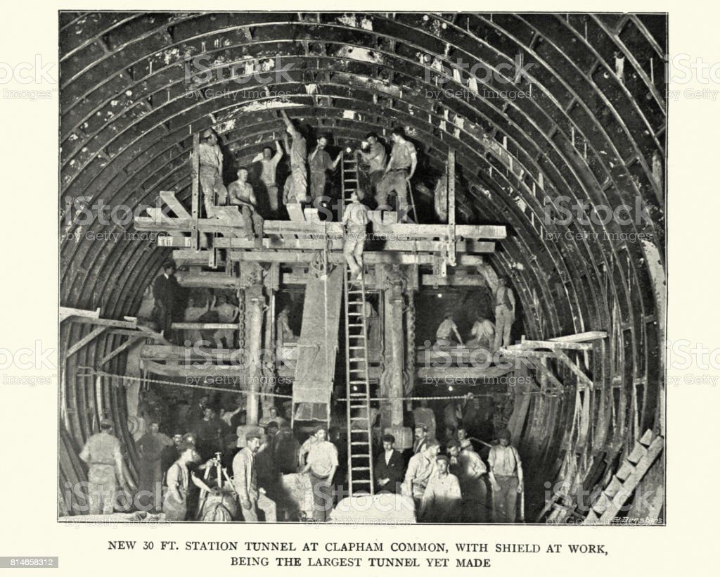 Building Station Tunnel at Clapham Common, London Underground, 1899 stock photo