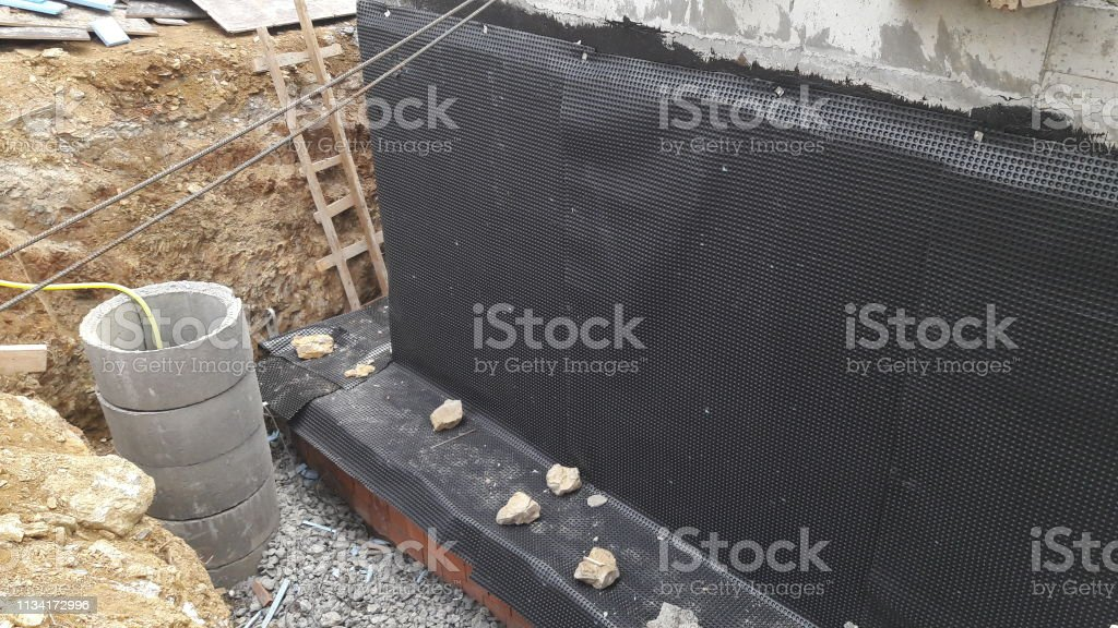 Building tar insulation stock photo