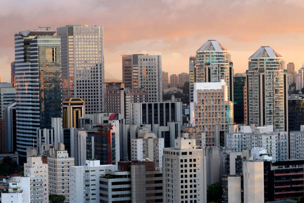 Building the city of Sao Paulo, South America Brazil - foto stock