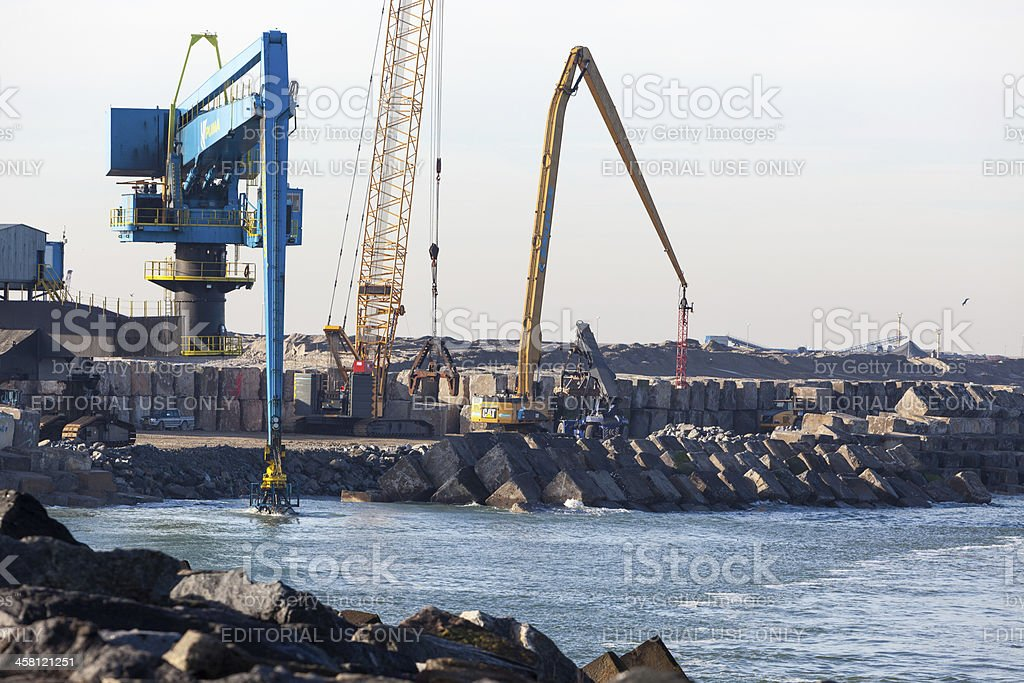 Building the second Maasvlakte in Rotterdam stock photo
