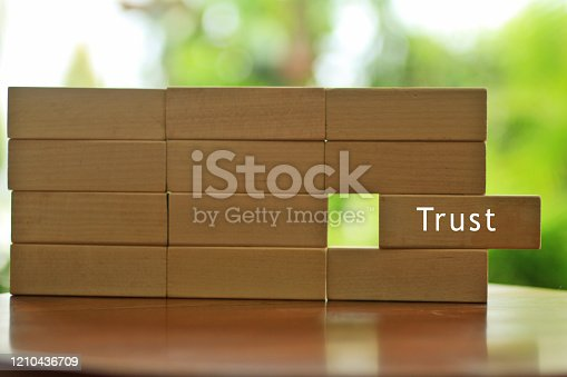 939533958 istock photo Building trust concept with wooden blocks wall. 1210436709