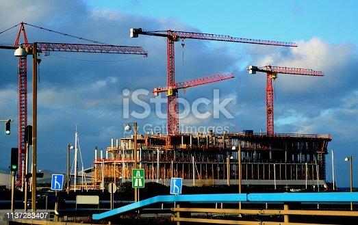 Cranes at construction site, Scandinavia