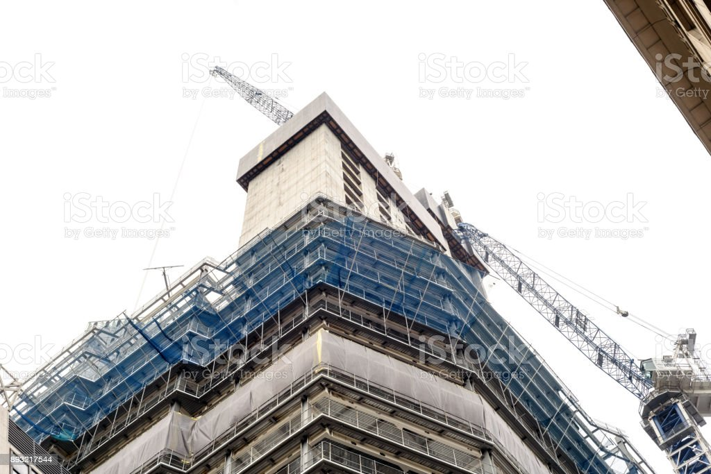 Building Under Construction White Sky stock photo