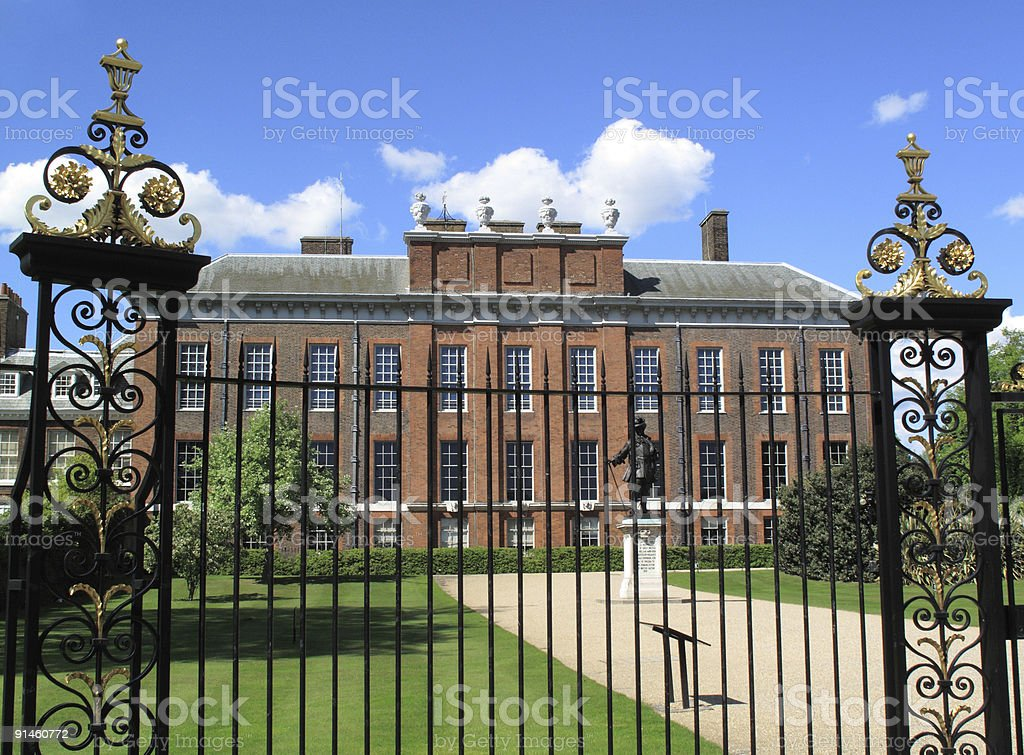 Building view of Kensington palace with gates royalty-free stock photo