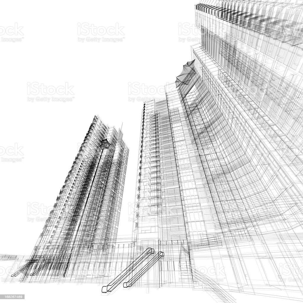 Building Wireframe royalty-free stock photo