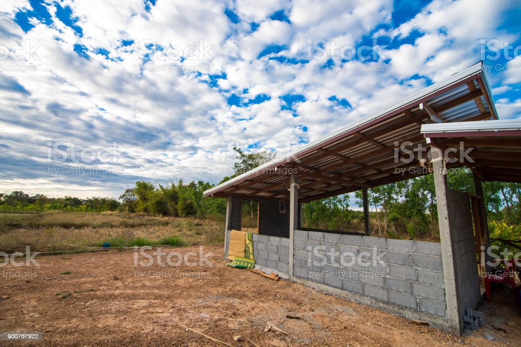 building with blue sky background. stock photo