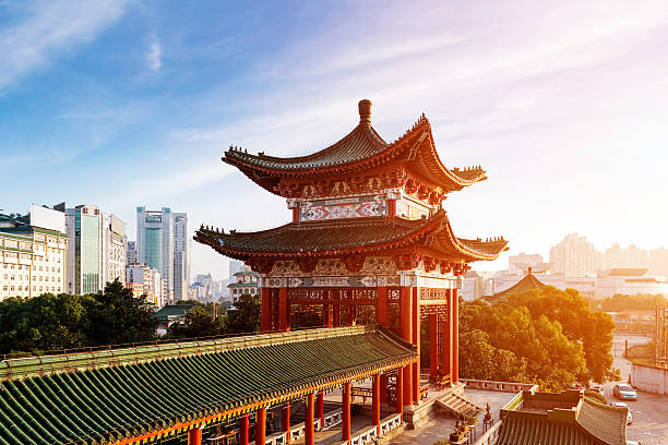 Building with classic Chinese design in a large city stock photo