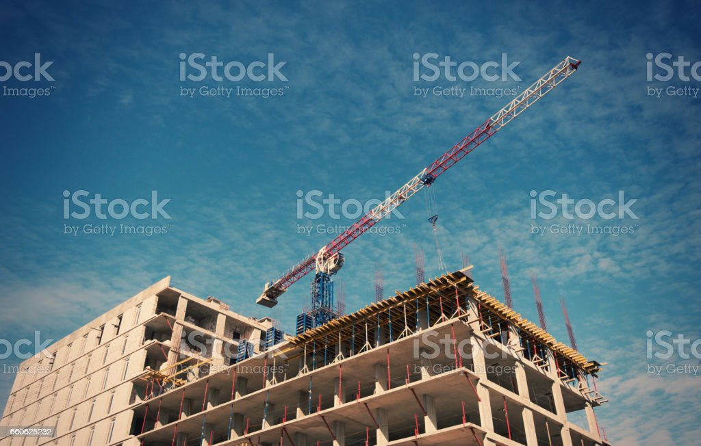 Building with Cranes royalty-free stock photo