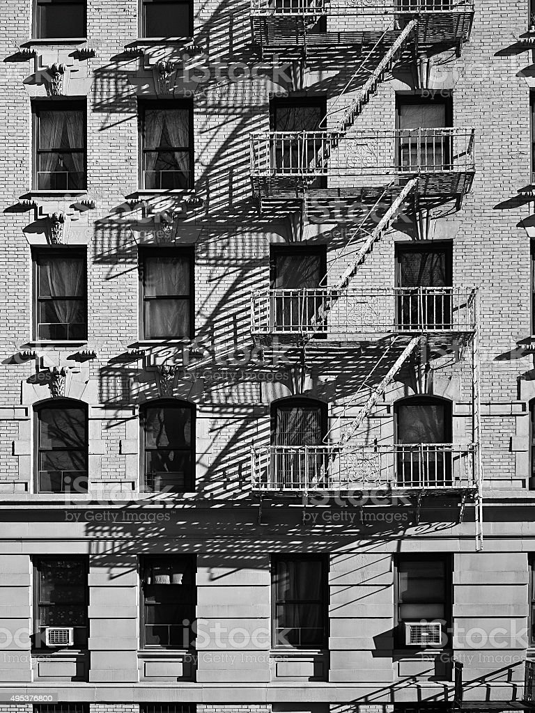 Building with fire escape stock photo