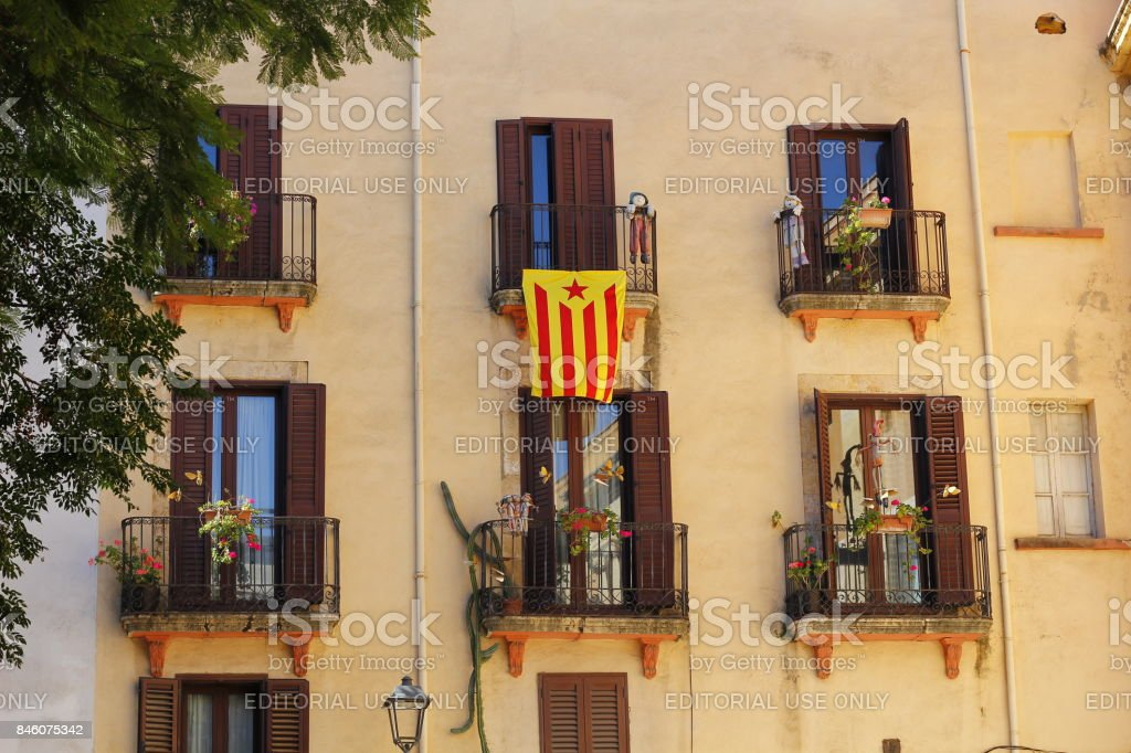 Building with flag claiming independence from Spain stock photo