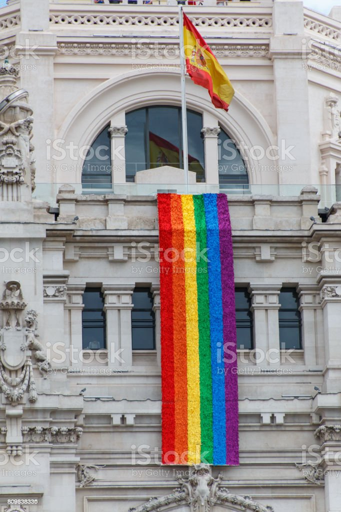 Building with flags stock photo