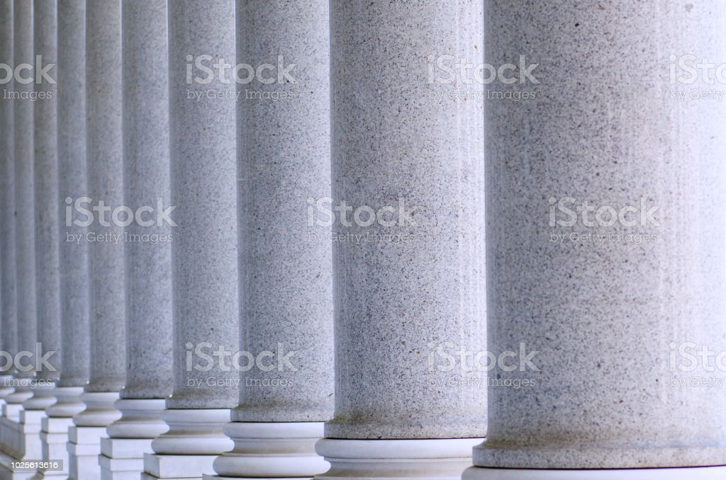Building with many columns stock photo