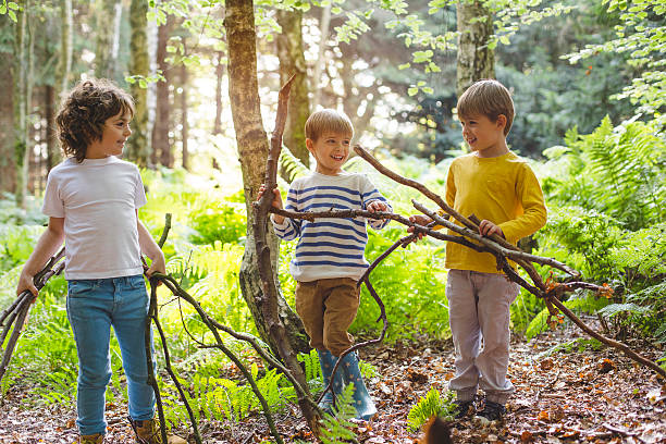 building with nature - bos spelen stockfoto's en -beelden