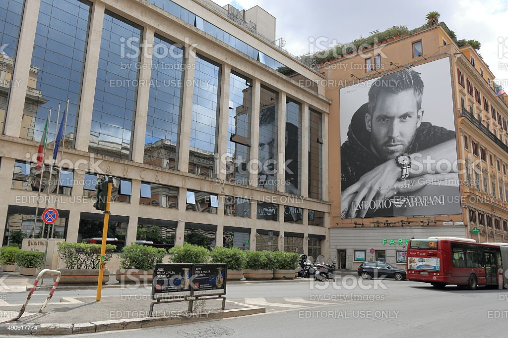 Building with poster of Emporio Armani in Rome, Italy stock photo