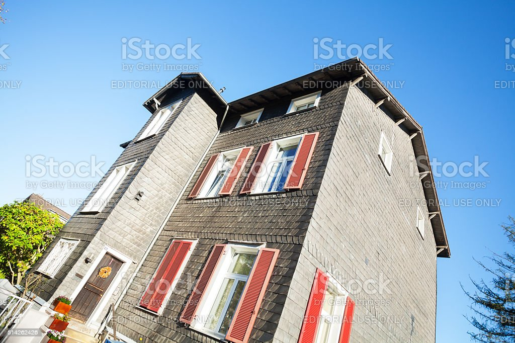 Building with schist facades stock photo