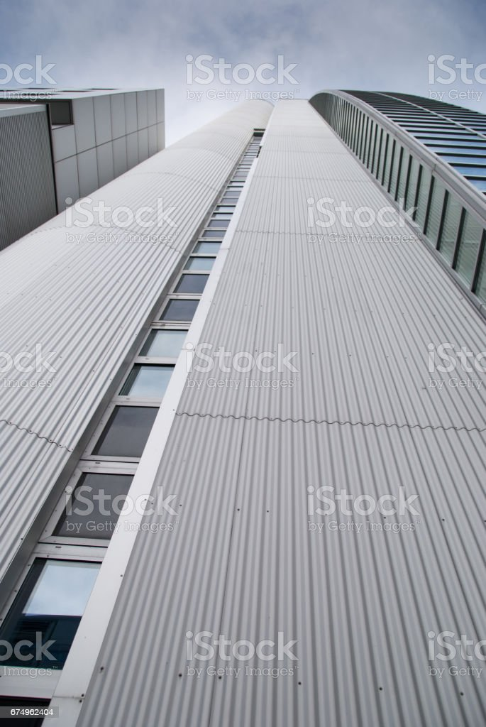 Building with sheet metal cladding stock photo