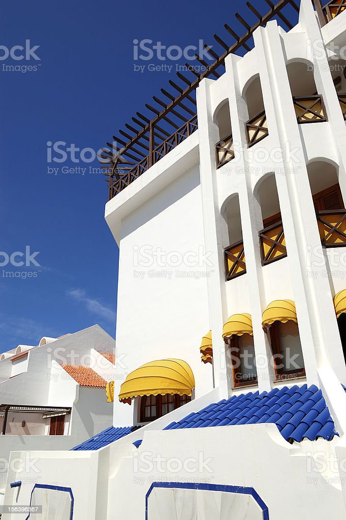 Building with terrace of luxury hotel, Tenerife island, Spain royalty-free stock photo