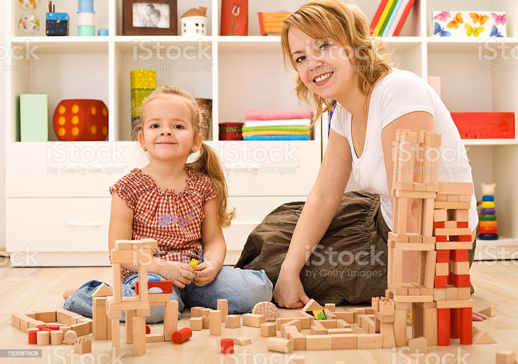 Building with wooden blocks royalty-free stock photo