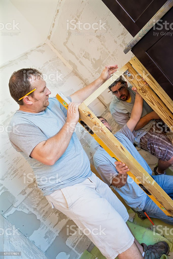 Building wooden frame for a shower stall royalty-free stock photo