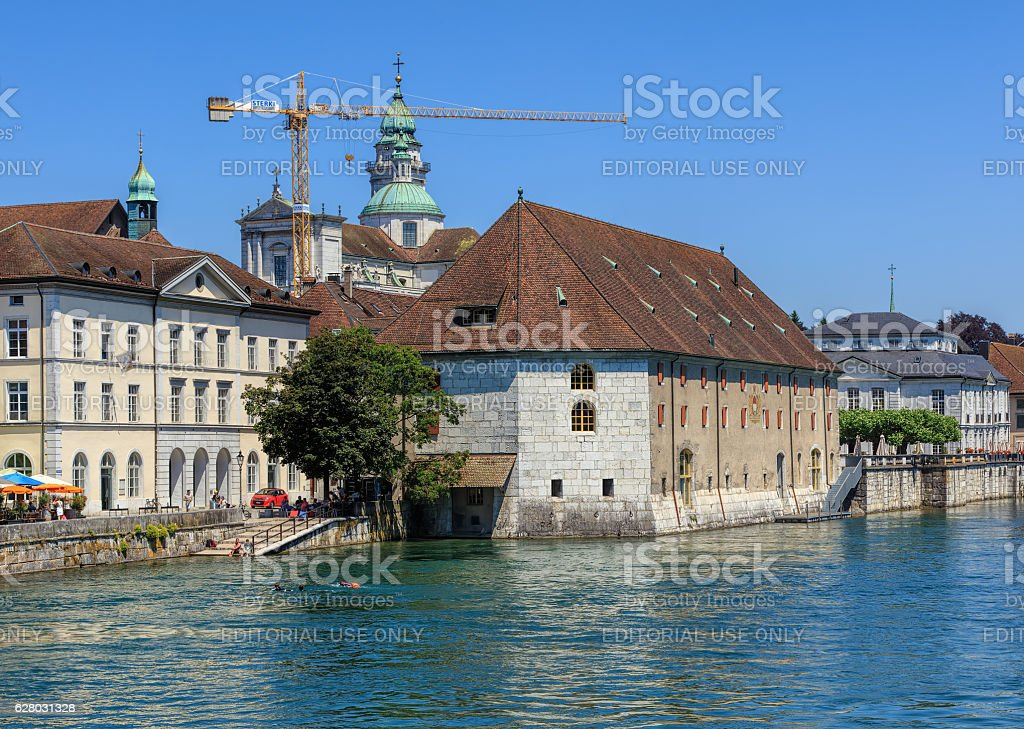 Buildings Along The Aare River In Solothurn Switzerland stock photo