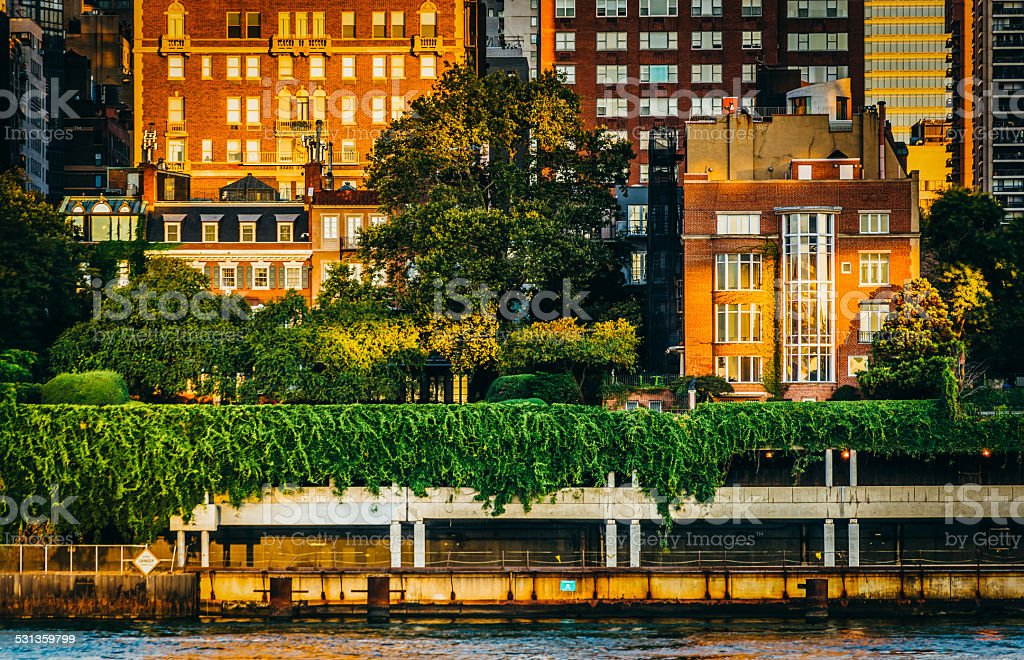 Buildings along the East River in Manhattan, seen from Roosevelt stock photo