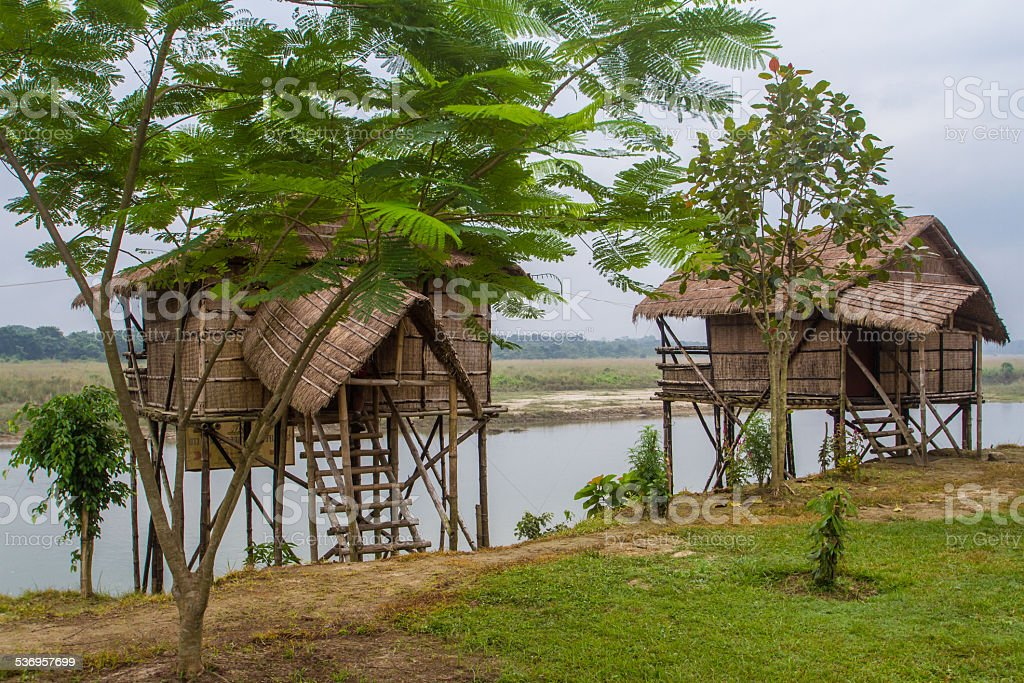Buildings Along the Rapti River, Nepal stock photo