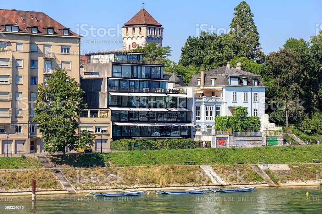 Buildings along the Rhine river in Basel, Switzerland foto royalty-free