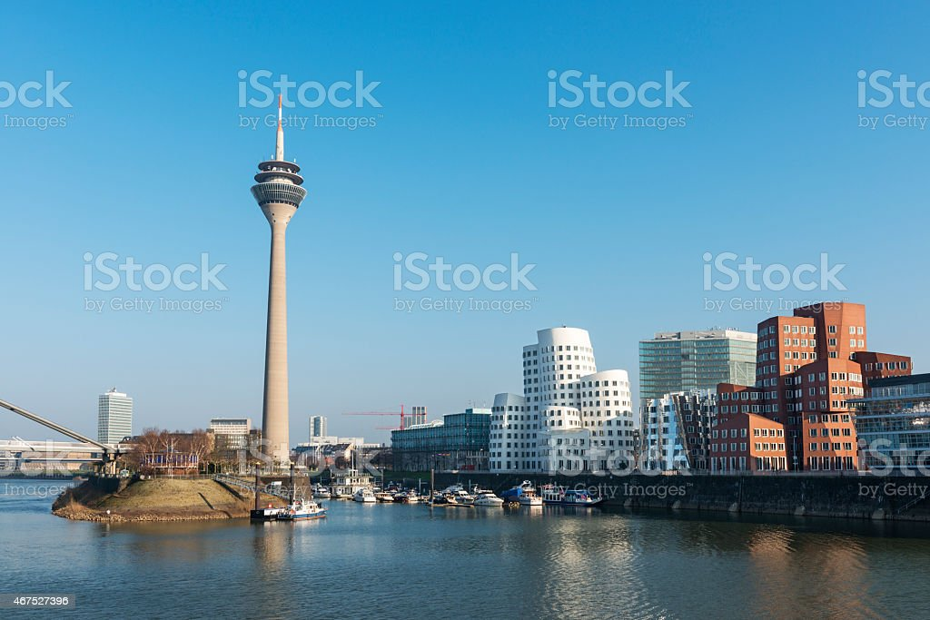 Buildings along the waterfront in Medienhafen, De_sseldorf stock photo